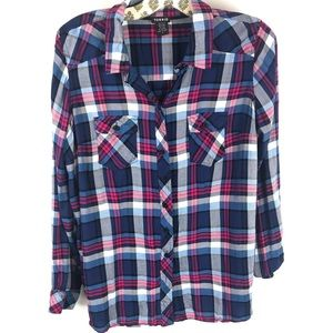 Torrid pink and blue plaid button up top